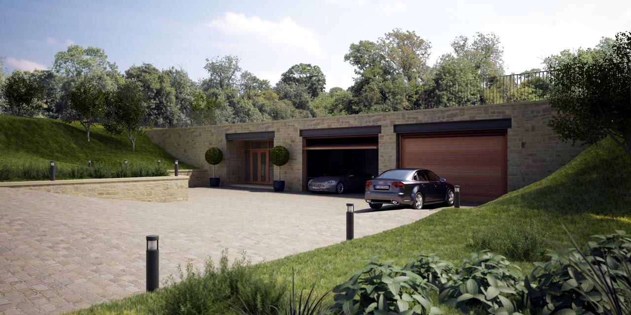 Grey Underground Concrete Room With Wooden Garage Door Can